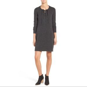 Madewell Merino Wool Lace Up Sweater Dress Gray